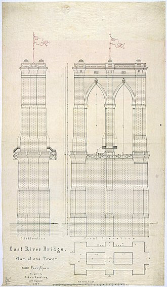 Brooklyn Bridge - Early plan of one tower for the Brooklyn Bridge, 1867