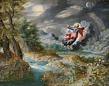 painting of a dark gray skies with trees and water, and a human image, flying, with arms outstretched
