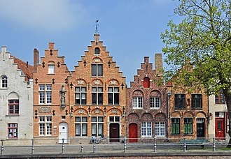 Crow-stepped gable - Buildings in Bruges, Belgium, with crow-stepped gables
