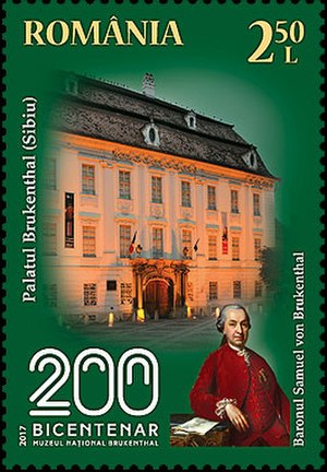 Brukenthal National Museum - A 2017 stamp dedicated to the 200th anniversary of the museum