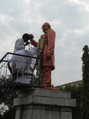 Buddhist paying homage at Dr Babasaheb Ambedkar statue during the Namvistar Din in one of the educational institute in Aurangabad.png