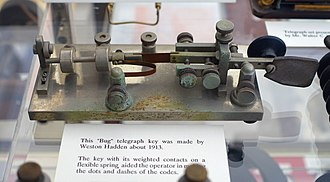 "Telegraph key - Early ""bug"" telegraph key invented in 1913 by Weston Hadden"