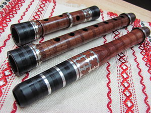 Kaval - Bulgarian kaval in key of D (Re), Mopane wood, Pewter inlay - Wedding style kaval, made in 2012 by master craftsman Radoslav Paskalev, Virginia, USA