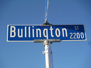 Orville Bullington - Bullington Street is located in a residential section of Wichita Falls, Texas, off U.S. Route 82 and U.S. Route 277.