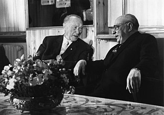 Zalman Shazar - West German Chancellor Konrad Adenauer with Zalman Shazar (1966)