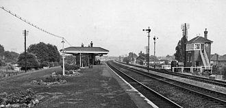 Burnham railway station - View eastward, towards Paddington in 1961