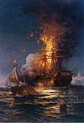 Painting of the burning Philadelphia by Edward Moran
