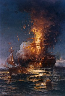A painting of a ship on fire. It floats in the water with flames reaching high overs its masts