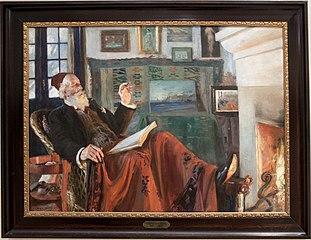 Ved kaminilden. Portræt af Holger Drachmann med rød fez.