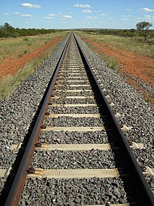 straight railway tracks bisect a grassy plain with red soil