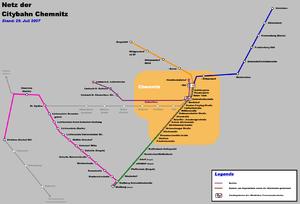 City-Bahn Chemnitz - Network as of 2007