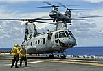 CH-46 Sea Knight helicopter approaches the flight deck of the amphibious assault ship USS Bonhomme Richard (LHD 6).jpg