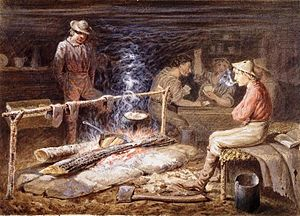 "Fraser Canyon Gold Rush - Cabin on the Fraser, B.C., ""The Bacon is Cooked"", About 1862"