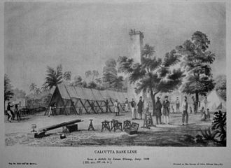 Great Trigonometrical Survey - Measurement of the Calcutta baseline in 1832 based on a sketch by James Prinsep. This shows surveyors stretching a chain on coffers supported on pickets. The chain is housed under shade to reduce errors due to thermal expansion, and is aligned using a boning telescope.
