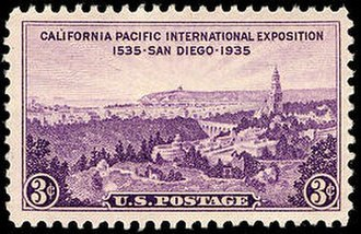 California Pacific International Exposition half dollar - Three-cent stamp issued by the United States Post Office Department for the Exposition, 1935