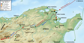 A map of northern Tunisia and north-east Algeria showing the route of Scipio's army