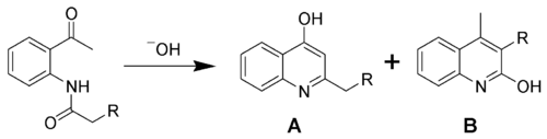 The Camps cyclization, a quinoline synthesis giving 2- and 4-hydroxyquinolines.