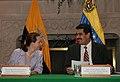 Canciller María Fernanda Espinosa con Canciller Nicolás Maduro Moros (1184786852).jpg