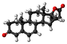 Ball-and-stick model of the canrenone molecule