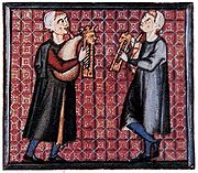 A detail from the Cantigas de Santa Maria showing bagpipes with one chanter and a parallel drone (13th Century)