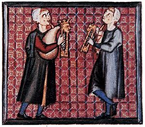 Bagpipes - A detail from the Cantigas de Santa Maria  showing bagpipes with one chanter and a parallel drone (Spain, 13th century).
