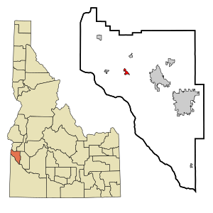 Canyon County Idaho Incorporated and Unincorporated areas Greenleaf Highlighted.svg