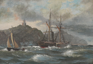 Coastal scene with ships and a lighthouse.