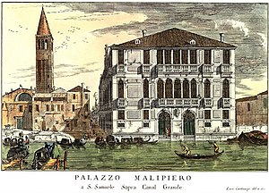 Palazzo Malipiero - 18th-century vedute of Palace by Carlevarjis