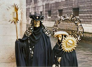"Carnival of Venice - Masks at the Carnival of Venice, with the ""Bauta"" mask shown on the left."