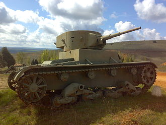Battle of Seseña - T-26 mod. 1933 in service in the Spanish Republican Army, near Salamanca, Spain.