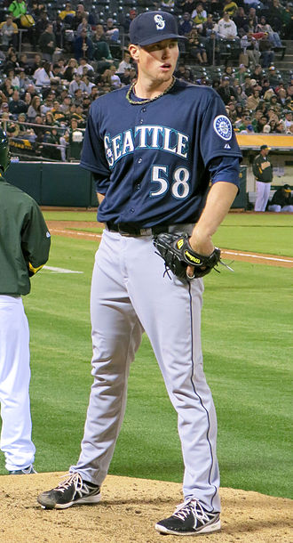Carter Capps - Capps warms up in the bullpen in Oakland, California, April 2013.