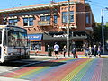 Castro Street Pedcrossing with Rainbow Flag Colour.JPG