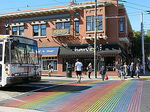 Castro District, San Francisco - Castro Street Pedestrian crossing with Rainbow Flag Color