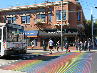 Castro District, San Francisco - Castro Street Pedestrian crossing with Rainbow Flag Color
