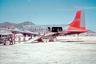 Daegu International Airport - Image: Casualties are loaded on USAF C 54D Taegu 1951