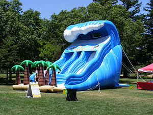 "Inflatable castle - A ""Catch A Wave"" inflatable slide"