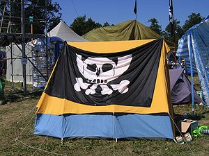 Chaos Computer Club - Chaos Communication Camp 2003 near Berlin, featuring the Pesthörnchen, a malapropism to the logo of the former Federal Post of Germany