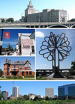 Top row: Mays Island; Middle left: Czech Village, Brucemore, Middle right: Tree of Five Seasons; Bottom row: Downtown Cedar Rapids
