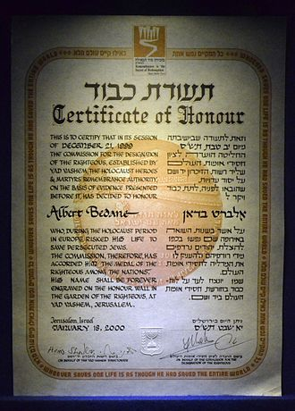Albert Bedane - Certificate Righteous Among the Nations for Bedane.