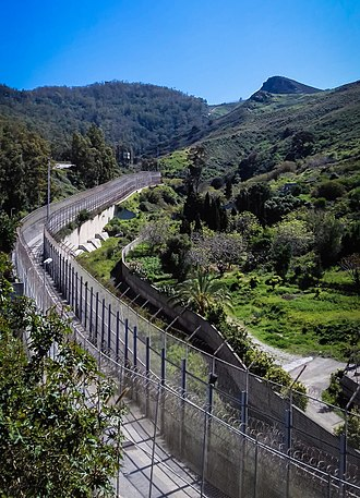 Ceuta border fence - The Ceuta-Morocco border fence, as seen from Ceuta.