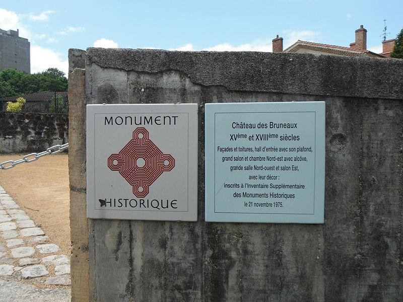 Château des Bruneaux, panneaux Monument Historique