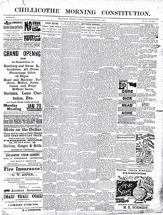 Chillicothe Constitution-Tribune - January 21, 1890, front page of Chillicothe Morning Constitution