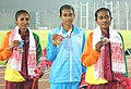 Chithra P.U. of India won Gold Medal, G.T.A. Abeyrathna of Sri Lanka won Silver Medal and U.K.N Rathnayaka of Sri Lanka won Bronze Medal in Women's 1500m Run in Athletics, at 12th South Asian Games-2016, in Guwahati.jpg