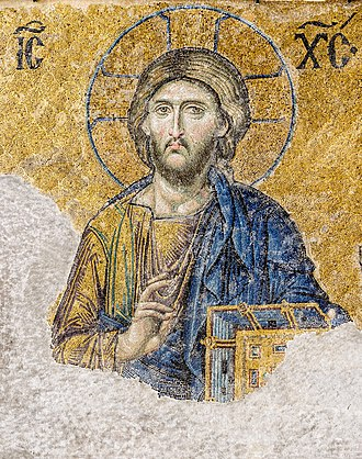 Christian art - 12th-century Byzantine mosaics of the Hagia Sophia showing the image of Christ Pantocrator.