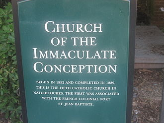 Natchitoches, Louisiana - Sign detailing background of Basilica of the Immaculate Conception in Natchitoches