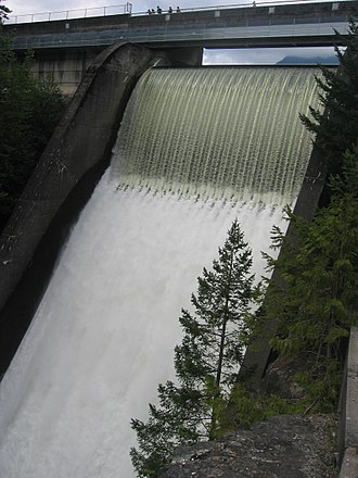 Capilano River - Cleveland Dam, which separates the River from Capilano Lake.