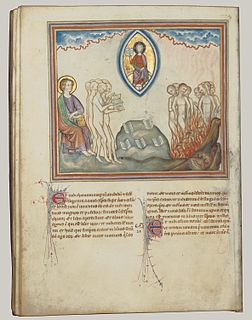 Illuminated medieval manuscript of the Apocalypse