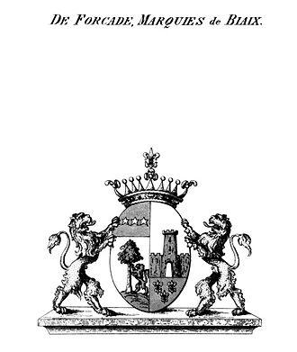 Friedrich Wilhelm Quirin von Forcade de Biaix - Coat-of-Arms, Forcade, Marquies de Biaix, Prussian Branch, pre-1856