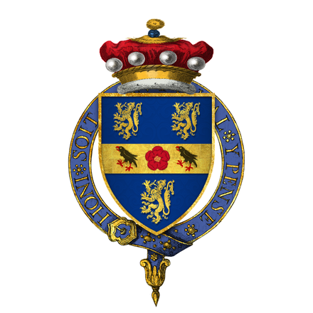 Cromwell's arms as they were before his son's marriage to the queen's sister. Coat of arms of Sir Thomas Cromwell, 1st Baron Cromwell, KG.png