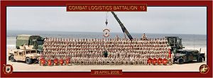 Combat Logistics Battalion 15 - CLB-15 assembled for a battalion photo at Del Mar Beach on Camp Pendleton, CA following their return from Iraq (April 2008).